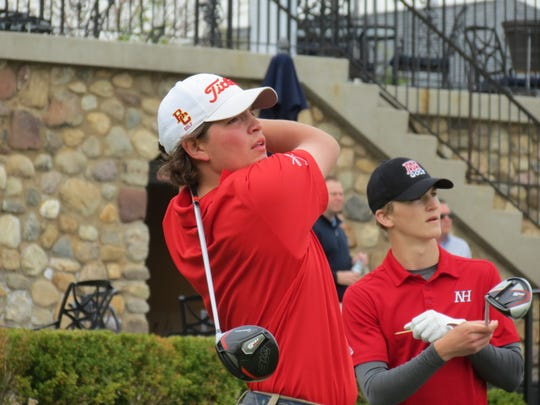 Will Celiberti (left) led Bergen Catholic to the title at the Arcola Invitational at Arcola Country Club in Paramus on Monday, April 29, 2019.