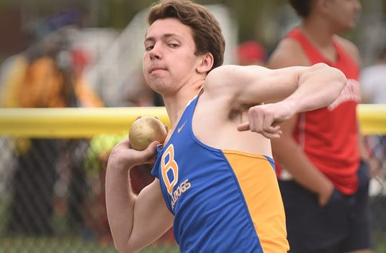Matt Stevens of Butler prepares to throw in Shot Put during the NJIC Patriot and Liberty Divisional track meet at Emerson Jr./Sr. High School in Emerson on 04/29/19.