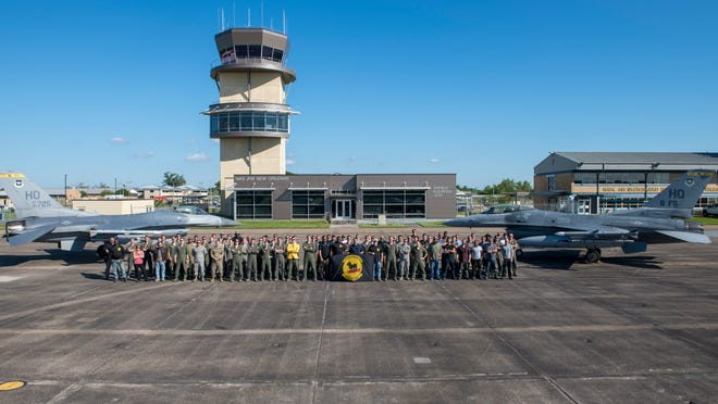 The 8th Fighter Squadron poses for a group photo, April 10, on Naval Air Station Joint Reserve Base New Orleans, La. No longer was the 8th FS in the high altitudes of the dry, brown desert of Holloman Air Force Base, N.M., but was now below sea level in the humid, deep south of Louisiana to conduct dissimilar aircraft training and close air support.
