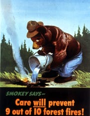 The 1945 Smokey doused a campfire.