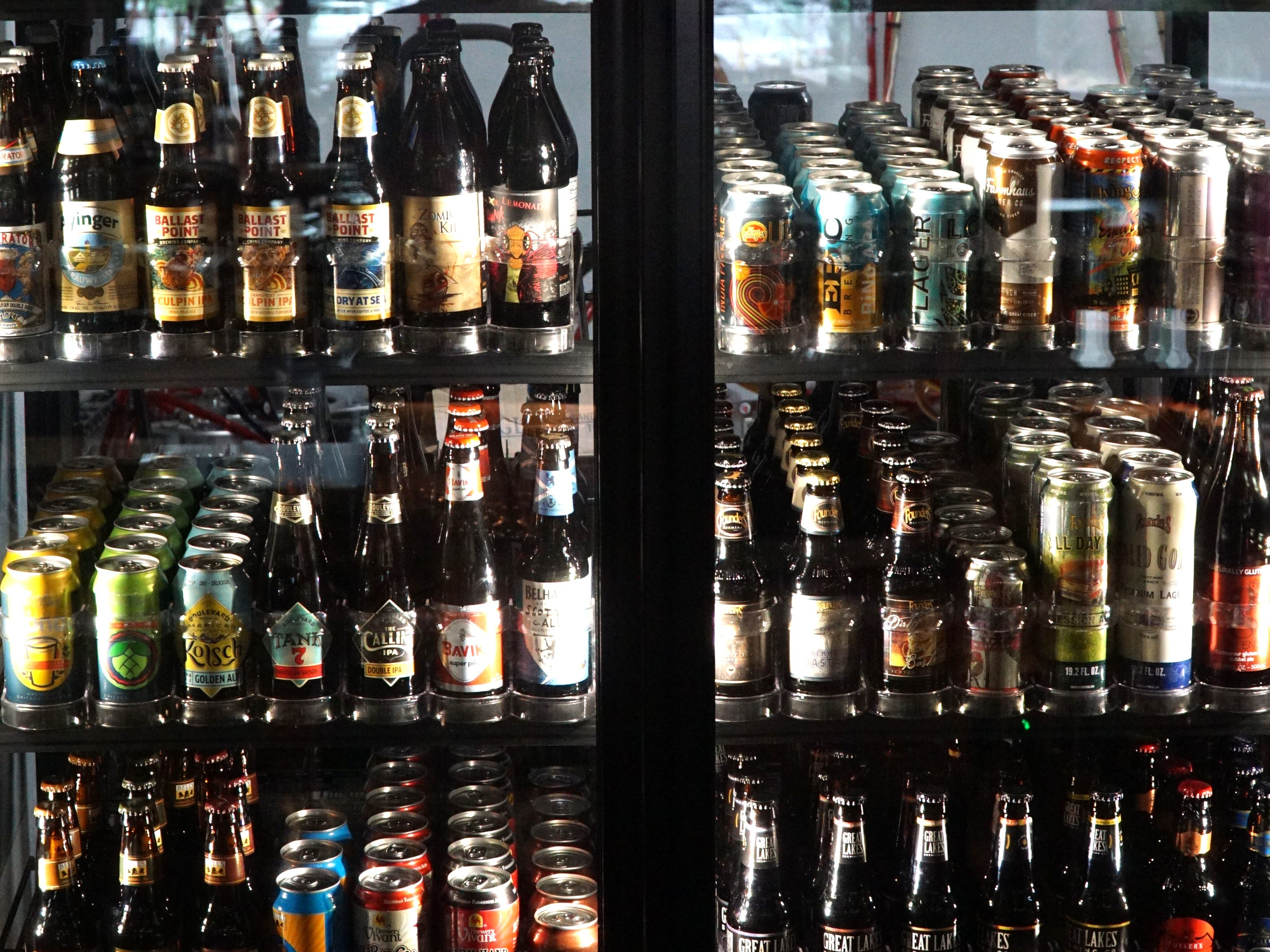 Some of the 200 different varities of beers and ales Sedona Taphouse has in bottles and cans.