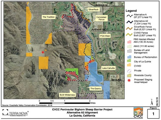 Map included in the EIR shows path fence would take to keep Peninsular bighorn sheep from accessing La Quinta golf courses and neighborhoods.