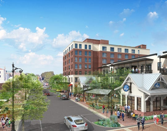 A rendering looking north on Jefferson Street shows what the $50 million East Garden District could look like when it's complete.
