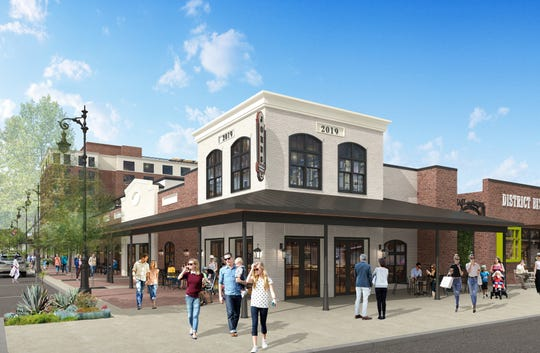 A rendering looking at the renovated former Reynalds Music House building at the corner of Jefferson and Garden streets shows what the $50 million East Garden District could look like when it's complete.