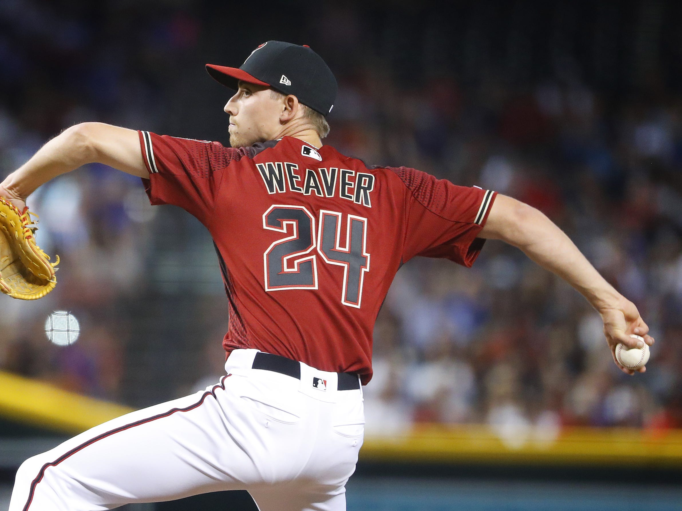 Diamondbacks Luke Weaver (24) pitches against the Cubs during the third inning at Chase Field in Phoenix, Ariz. on April 28, 2019.