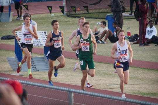 Rylan Stubbs of Campo Verde (second from right) runs in the 1600 event.