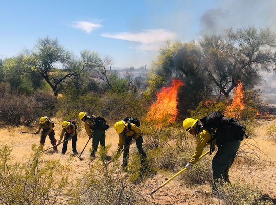 Approximately 75 personnel were deployed to the Arizona on Saturday, April 27, 2019.