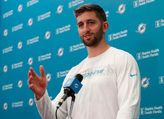 New Dolphins quarterback Josh Rosen answers questions at a news conference on Monday.