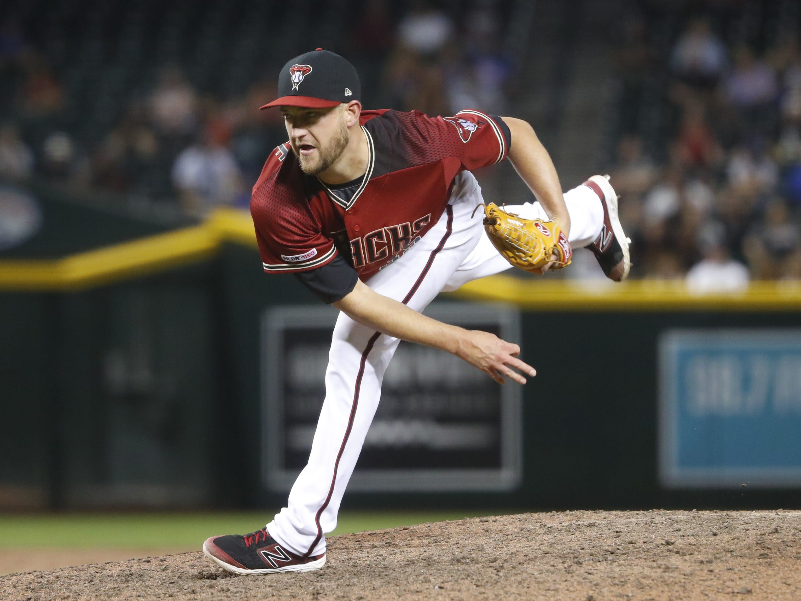 Diamondbacks' Matt Andriese pitches against the Cubs during the 15th inning at Chase Field in Phoenix, Ariz. on April 28, 2019.