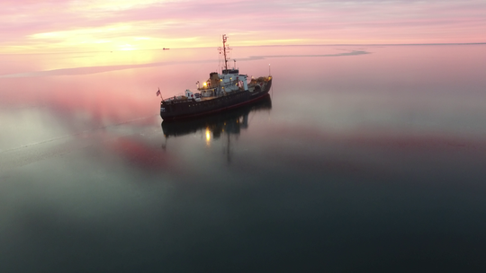 The Bramble sits at anchor in Lake Erie on its way to Alabama.