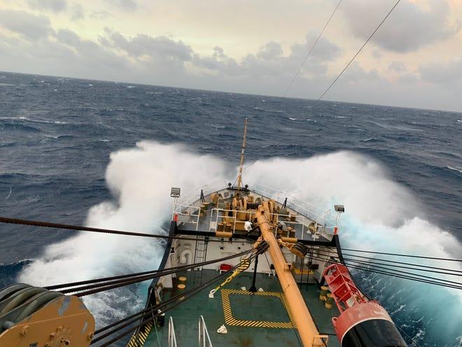The Bramble hit rough seas while heading south through the Atlantic Ocean.
