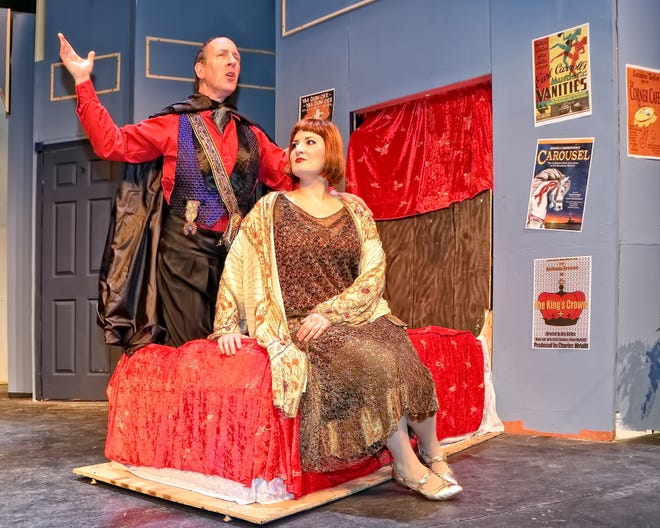 """Left to right, Glen Macken as Adolpho and Michele George as the chaperone are shown in rehearsal for the County Players production of """"The Drowsy Chaperone."""""""