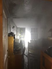 Multiple fire agencies responded to Robbins House dormitory at Bard College on Sunday, April 28 in response to a reported fire.  A view of one of the damaged dorm rooms.