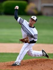 Alex Weakland delivers for Dallastown, Monday, April 29, 2019.