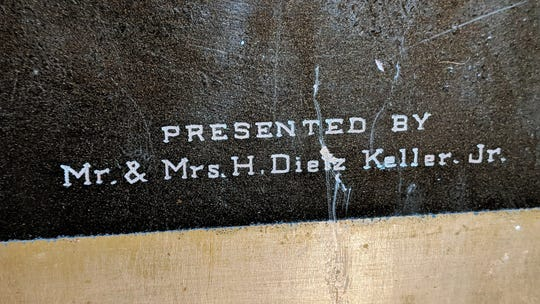Names of Mr. & Mrs. H. Dietz Keller Jr are engraved on the copper Zion Lutheran Church time capsule.