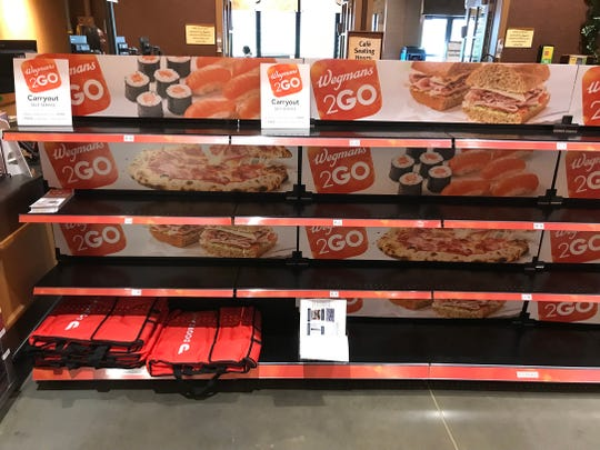 A staging area for Wegmans 2GO orders at the East Avenue Wegmans.
