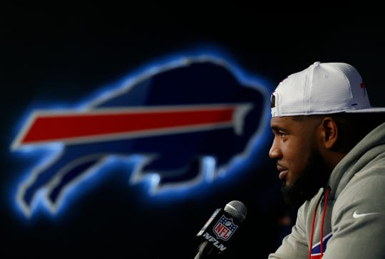Buffalo Bills first-round draft pick Ed Oliver addresses the media during an NFL football news conference Friday, April 27, 2019, in Orchard Park N.Y. (AP Photo/Jeffrey T. Barnes)