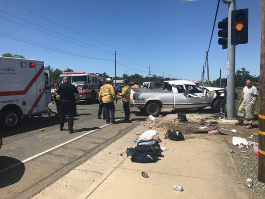 Northbound lanes of Highway 273 in south Redding were closed Monday afternoon after multiple people were injured in a crash at Westwood Avenue.