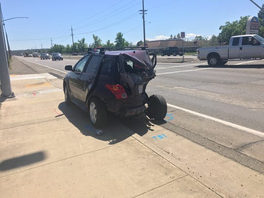 A car sustained major damage in a multi-vehicle crash Monday at Westwood Avenue and Highway 273 in south Redding.