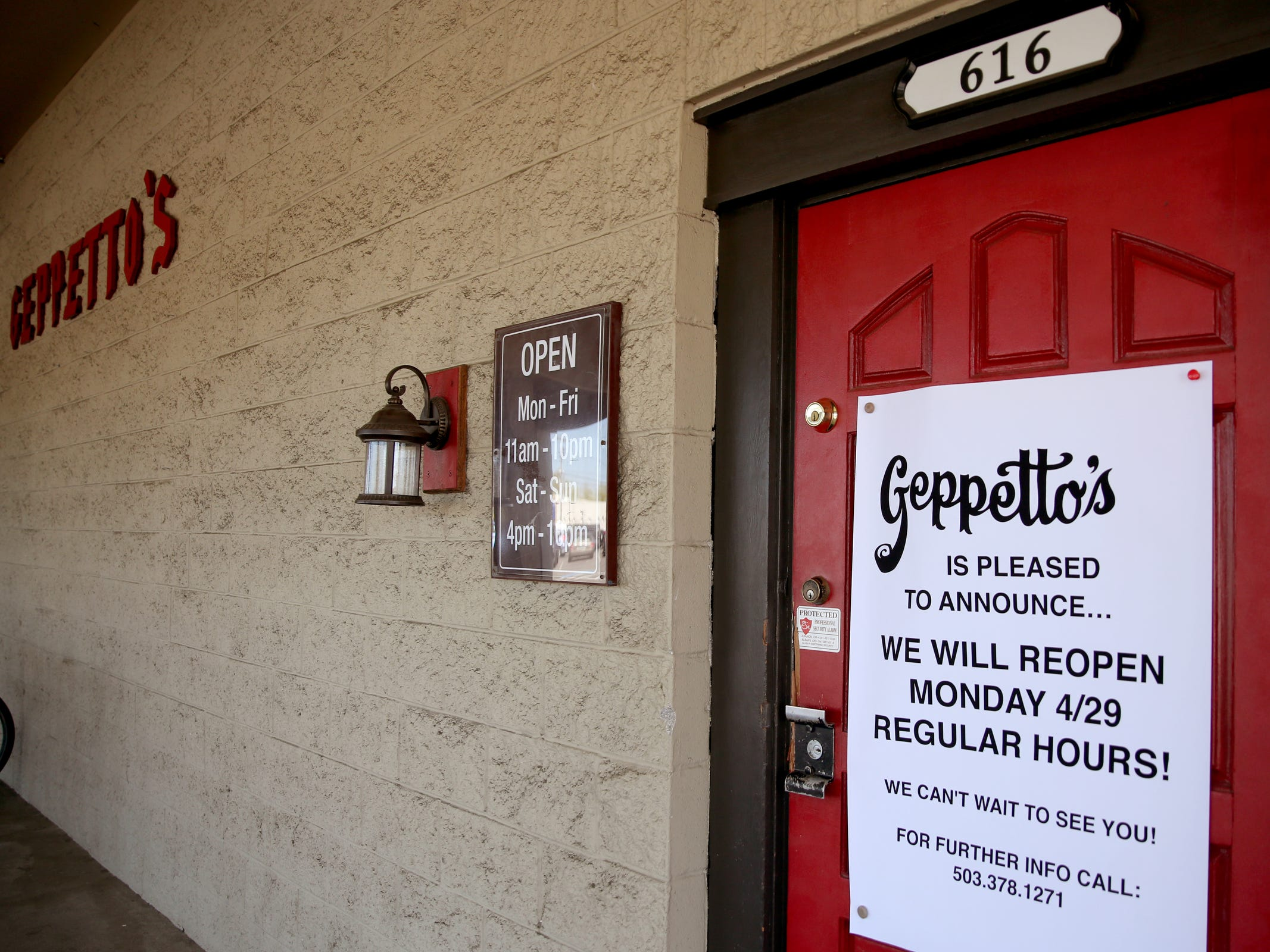 Geppetto's Italian Restaurant is open again after a fire at a neighboring business caused smoke damage on March 16. Photographed in Salem on April 29, 2019.