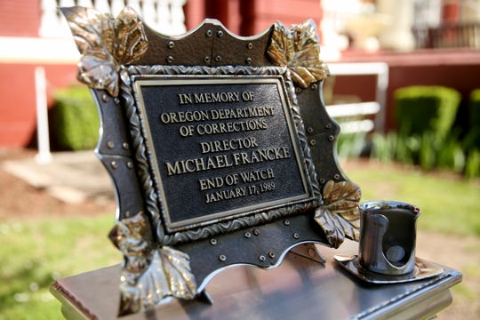 A memorial designed and built by inmates for Michael Francke at the Oregon Department of Corrections office in Salem on April 28, 2019. Michael Francke, the Oregon Department of Corrections Director, was stabbed to death in 1989. A federal judge recently ruled that the man convicted of murdering him should either be released from prison or retried within 90 days.