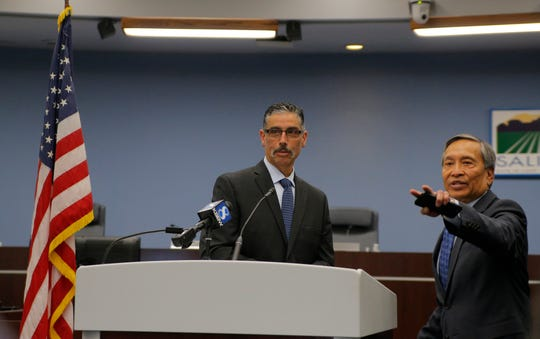 Pablo Barreto, the new chief of the Salinas Fire Department, and City Manager Roy Corpuz Jr. speak at a press conference on Barreto's new role April 29, 2019.