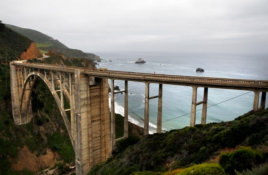 Runners cross over Bixby Bridge during the Big Sur Marathon in Big Sur, CA, on Sunday April 28, 2019. (Photo by David Royal)