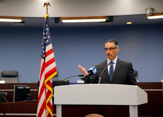 Pablo Barreto, the new chief of the Salinas Fire Department, speaks at a press conference on his new role April 29, 2019.