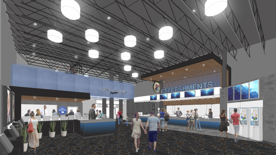 The Flagship Premium Cinemas is set to open in May in West Ocean City. Courtesy of JKRP Architects.