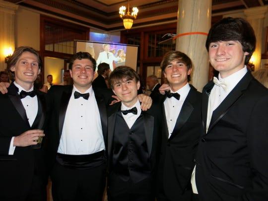 Seeing and being seen at the Plantation Ball: Tucker Morgan, Charlie Lockard, Carl Huddson, Ellis Tompkins, William Soginier.