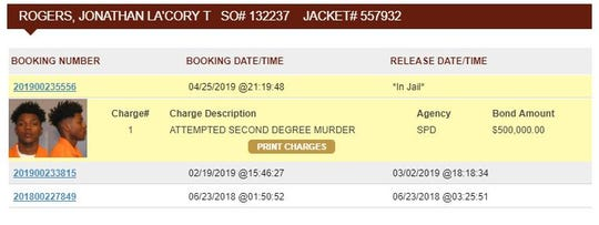 Caddo Correctional booking records for Jonathan Rogers.