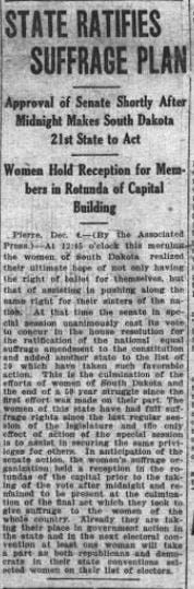 The Argus Leader's front page story on Dec. 4, 1919 about the state approving the 19th Amendment guaranteeing women the right to vote.