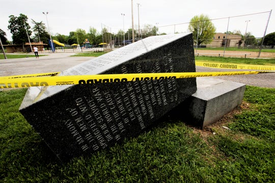 A World War I memorial was knocked off its base at Grant Beach Park in north Springfield. The parks department was called Sunday, April 28, 2019 about the vandalism.