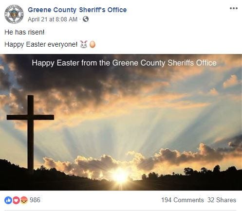The Greene County Sheriff's Department is facing controversy over the Easter post that featured a bible verse and image of a cross.