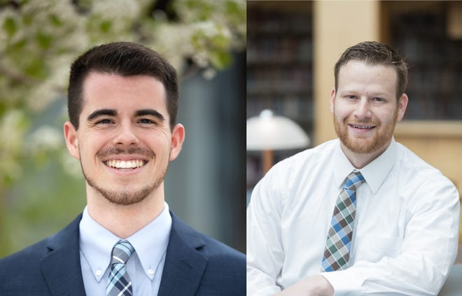From left, Braxton Thornley and Cameron Aston. Thornley and Aston are valedictorians for Dixie State University and Southern Utah University, respectively, for 2019.
