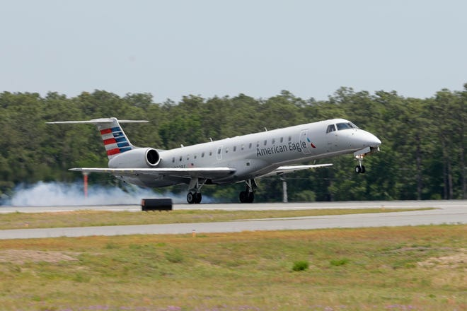An American Airlines plane lands at the Tallahassee International Airport Tuesday, April 23, 2019.