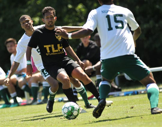 Tallahassee Soccer Club midfielder Aron Wimberly plays against his own college team as TLHSC played Thomas University to a 1-1 tie during a scrimmage in Thomasville on Saturday, April 27, 2019.