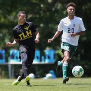 Tallahassee Soccer Club midfielder Daniel Villa makes a pass as TLHSC played Thomas University to a 1-1 tie during a scrimmage in Thomasville on Saturday, April 27, 2019.