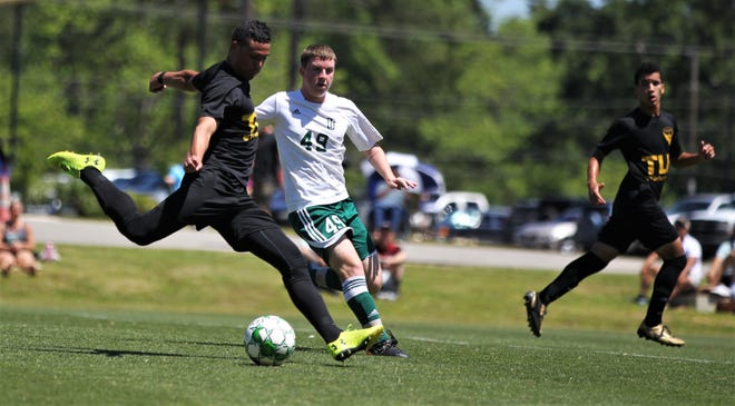 Tallahassee Soccer Club midfielder Daniel Villa takes a shot on goal as TLHSC played Thomas University to a 1-1 tie during a scrimmage in Thomasville on Saturday, April 27, 2019.