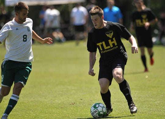 Tallahassee Soccer Club forward Michael Seng dribbles as TLHSC played Thomas University to a 1-1 tie during a scrimmage in Thomasville on Saturday, April 27, 2019.