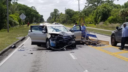A crash near the Vero Beach Regional Airporthas shut down 26th Streetin both directions.