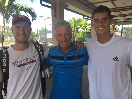 Matic Spec (left), Tom Fish (center), and  Felix Corwin at the Mardy Fish Children's Foundation Tennis Championships.