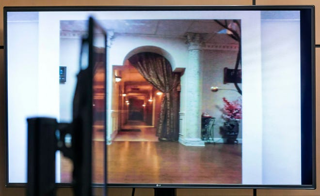 A photo showing the interior of the Orchids of Asia Day Spa is shown while Alex Spiro, attorney for Robert Kraft, questioned Jupiter Police Detective Andrew Sharp during a motion hearing in West Palm Beach court Friday morning, April 26, 2019, in West Palm Beach.