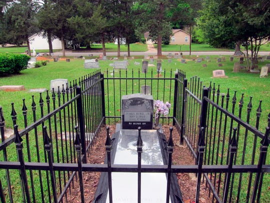 This April 2019 photo shows the gravesite of James Byrd Jr. in Jasper, Texas. Byrd was killed on June 7, 1998, after he was chained to the back of a pickup and dragged for nearly three miles along a secluded road in the piney woods outside Jasper in what is considered one of the most gruesome hate crime murders in recent Texas history.
