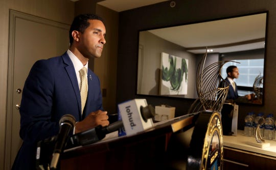 Mount Vernon Mayor Richard Thomas spoke at the Grand Hyatt Hotel in Manhattan Monday about what he said was racial profiling by JP Morgan Chase. Thomas is accusing the bank of racial profiling after the police were called when he and members of his staff visited the bank  in White Plains to make a deposit on Wednesday.