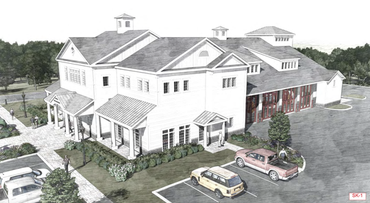 This rendering shows the proposed Bedford Fire Department firehouse on Route 22 south of Bedford Village