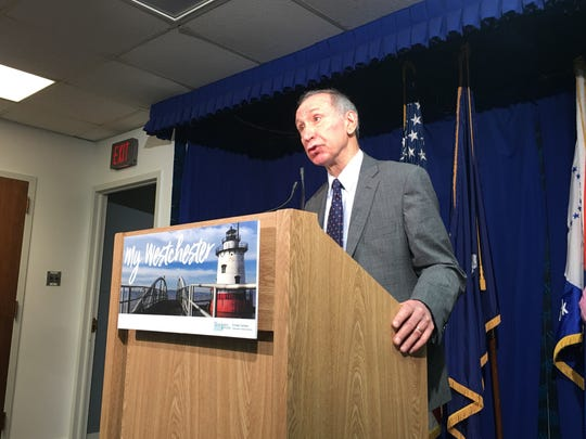 John Nonna, attorney for Westchester County George Latimer's administration, speaks to reporters at the press briefing room on April 29, 2019.