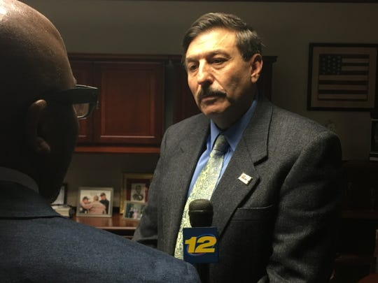 John Testa, Republican minority leader of the Westchester County Board of Legislators, speaks to reporters in his office in White Plains, April 29, 2019. Testa said ending the deal with a company to manage Playland was a mistake.