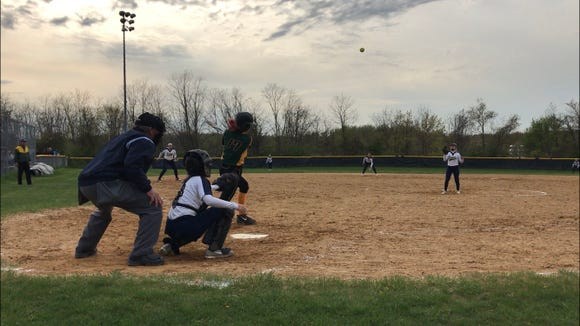 Lakeland junior Amanda DiClerico connects on her second home run of the game in a 5-1 win against Panas. Apr. 29, 2019.