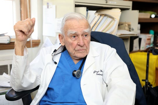 Dr. Lloyd Hamilton, 91, founder of Health Lifeline, talks about the free clinic in Nyack for uninsured adults, April 29, 2019. The health clinic has recently had funding issues and is looking for donations.